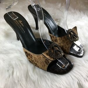 Doland Pliner Animal Print Open To Peace Sign Heel